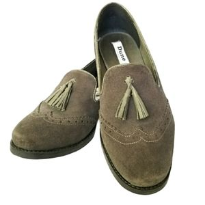 Dune London brogues with tassel Green suede 7.5